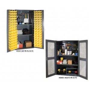 "36"" and 48"" Wide 5-S STORAGE CABINETS, Size O.D. W x D x H: 36 x 24 x 72"", No. of Shelves: 2, Shelf Cap. (lbs.): 900, Bins: (96) 4 x 5 x 3"", Pegboard Dims. W x H: 36 x 24"""