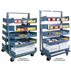 "ADJUST-A-TRAY TRUCK, Cap. (lbs.): 1500, Single Sided, Size W x D x H: 38 x 24 x 64"", Tray Cap.: 7-6"""