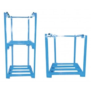 "ONE PIECE PORTABLE STACKING RACKS, Size D x W x H: 48 x 48 x 60"", Blue"