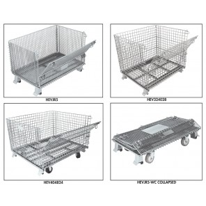 """CLOSED FOOT CONTAINER SERIES, Cap. (lbs.): 4000, Side Mesh Size: 2 x 2"""", Casters Included: No"""