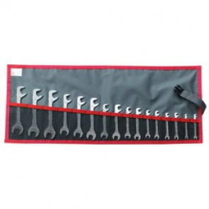 Facom® FM-34.JL16T Open End Wrench Set, 16 Pieces, Satin