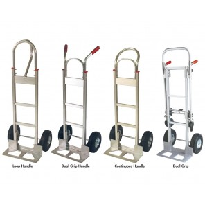 "ALUMINUM HANDTRUCKS, Continuous Handle, Cap. (lbs.): 500, Height: 50"", Wheel 8"" Rubber/Mold-On, Aluminum handtruck w/stair climbers"