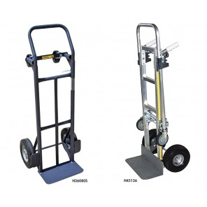 "FLOW BACK CONVERTIBLE HAND TRUCKS, Steel, Wheels: 10"" Puncture Proof, Nose Plate: 7-1/2 x 14"", Load Cap. (lbs.): 800"