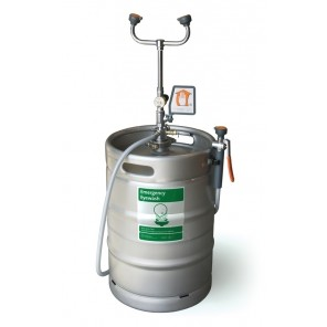"PORTABLE ""KEG"" STYLE EYE WASH/DRENCH HOSE UNIT, 15-Gallon Cap."