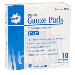 "GAUZE PADS, HART, sterile, individually wrapped, 12-ply, 2"" x 2"", 10 per box 1832"
