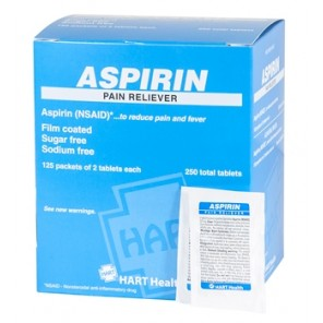 ASPIRIN, HART, 325mg, 125 packets of 2 tablets per box (250 total tablets) 5524