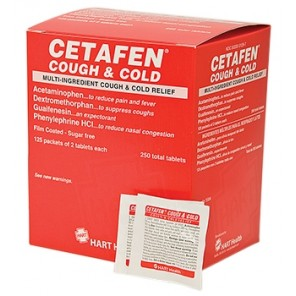 CETAFEN COUGH & COLD, HART, multi-ingredient cough and cold relief, 125 packets of 2 tablets per box (250 total tablets) 5584