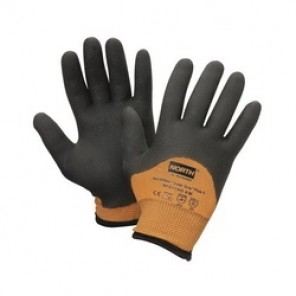 North® by Honeywell NFD11HD/8M COLD GRIP PLUS 5™ Coated Gloves, SZ 8/M, PVC Palm, Black/Orange, Dipped/Seamless Knit, Polyamide/Composite Fiber