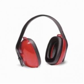 Honeywell QM24PLUS Noise-Blocking Earmuff, 25 dB Noise Reduction, Red/Black, Multi-Position Band Position, Foam Ear Cushion/Plastic
