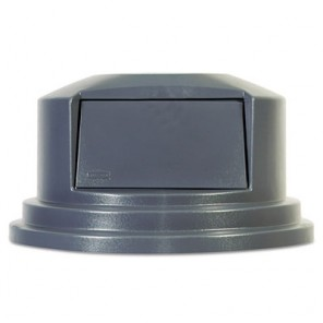 """Rubbermaid Round Brute Dome Top Lid for 55gal Waste Containers, 27 1/4"""" dia, Gray"""