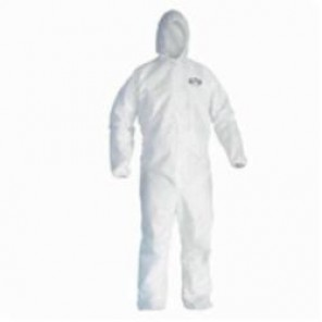 KleenGuard; 44322 Breathable Disposable Coverall, M, 23-1/2 in Chest, 37 in Inseam, White, Microporous Film Laminate