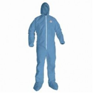 KleenGuard; 45357 Disposable Flame Resistant Coverall, 4XL, 58 - 60 in Chest, 32 in Inseam, Blue, Polyester Spun