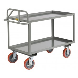 "ERGONOMIC SHELF TRUCK, Shelf Size: 24 x 36"", Cap. (lbs.): 3600, Top Shelf Height: 35"", Wheel Size: 8"" x 2"", Shelf Type: Lip Up"