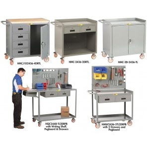 """36"""" MOBILE BENCH CABINET AND WORKSTATIONS, Mobile Workstation w/24""""H Pegboard Panel, Size W x L x H: 24 x 36 x 35"""", No. of Doors: 0, No. of Drawers: 0, Top Surface: Steel"""