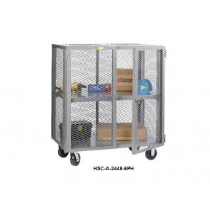 "INDUSTRIAL DUTY SECURITY TRUCK, Inside Dim. W x D x H: 24 x 60 x 48"", Shelf Type: 1 Fixed Center Shelf"