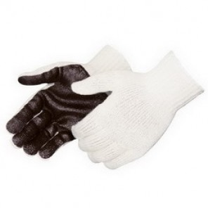 Liberty Glove 4718 One-Sided Palm Coated Gloves, Men's, Brown/White, Cotton/Polyester