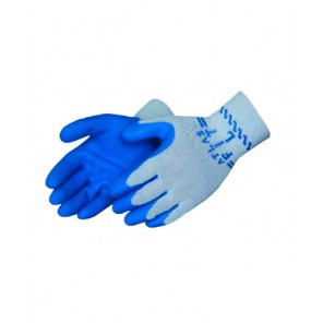 SHOWA ATLAS FIT 300 Gray Shell Glove, Blue latex dip palm/fingertips
