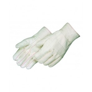 Liberty 4551 Premium Grade Hot Mill Glove White (natural), with Knuckle Strap, Nap-out Cotton Canvas, One Size, Dozen