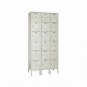 LYON® 5342-3 Box Locker, 12 in H x 12 in W x 15 in D, 6 Tiers, 18 Compartments