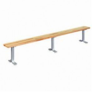 LYON® 5813 Locker Room Bench, 120 in L x 9-1/2 in W x 18 in H, Hardwood Top/Aluminum Pedestals, Putty/Gray