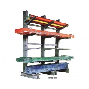 "SERIES 2000 MEDIUM-HEAVY DUTY CANTILEVER RACKS, Single Sided Upright, Height: 10', Cap. (lbs.)/Arms Used: 11, 500/30"" Arms 10, 300/36"" Arms, Base: 50"""