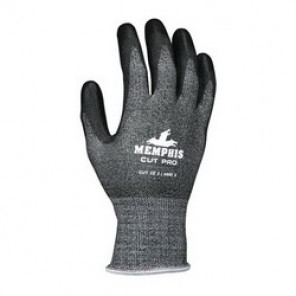 Memphis 92723PU Cut-Resistant Gloves, L, Polyurethane Palm, Black, Single Dipped, Synthetic