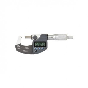 Mitutoyo 395 Digital Inch/Metric Spherical Face Micrometer, 0 to 1 in/0 to 25.4 mm, LCD, Satin Chrome