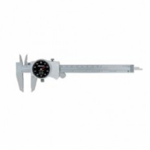 Mitutoyo 505 Dial Caliper, 0 to 6 in, Graduation 0.001 in, 0.1 in/rev, 21 x 40 mm Jaw Depth, Stainless Steel, TiN Coated
