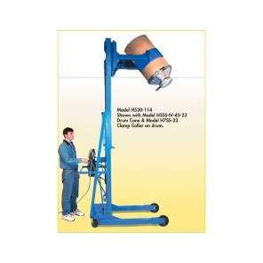 "VERTICAL-LIFT DRUM POURER, Stage Unit Type: Two Stage Units w/106"" Dispensing Height, DC power lift & tilt, no scale"