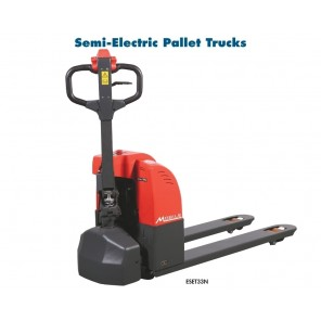 """SEMI-ELECTRIC & FULL ELECTRIC PALLET TRUCKS, Model: EFET33N Full-Electric, Cap. (lbs.): 3300, Lowered Height: 3"""", Raised Height: 7-5/8"""", Fork Size: 27 x 48"""""""
