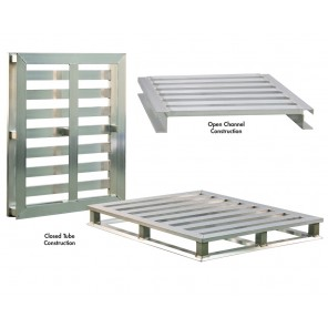 "ALUMINUM PALLETS, Size W x L x H: 40 x 48 x 5"", 2-way, Construction: Open Channel"