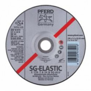PFERD Performance Line SG Depressed Center Wheel, 4-1/2 in Dia x 1/4 in THK, 5/8-11, A24N Grit, Aluminum Oxide Abrasive