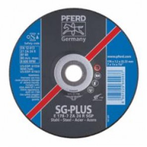 PFERD Special Line SG-PLUS Depressed Center Wheel, 4 in Dia x 1/4 in THK, 5/8 in, 24 Grit