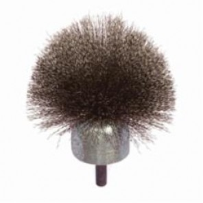 PFERD 82925 Circular Stem Mounted End Brush, 1-1/4 in Dia, 0.006 in Carbon Steel Crimped Wire