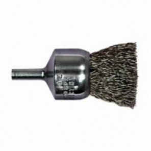 PFERD 82967P Stem Mounted End Brush, 3/4 in Dia, 0.006 in Carbon Steel Crimped Wire, 1 in Trim 5/Box