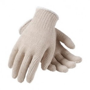 PIP® 35-C104 Standard Weight Knit Wrist Gloves, L, Natural, Seamless, Cotton/Polyester, Size Large, Dozen