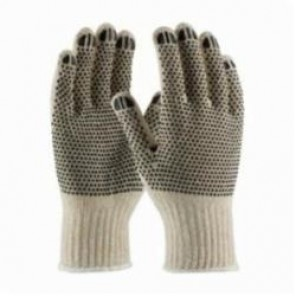 PIP® 36-110PDD Regular Weight Knit Gloves, PVC Palm, Black/Natural, Full Finger/Seamless Knit, 7 ga Cotton/Polyester