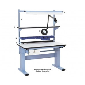 "ELECTRIC HEIGHT ADJUSTABLE WORKBENCHES, Size L x W: 60 x 30"", Adj. Height: 30-1/2 - 46-1/2"", Top Work Surface: ESD Laminate"