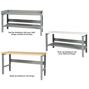 ADJUSTABLE HEIGHT CHANNEL LEG WORK BENCH, w/lower shelf and stringer, Top Maple, Size L x D: 48 x 24""