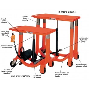 "POST LIFT TABLE, Electromechanical, Battery Operated, Cap. (lbs.): 2000, Height Lift: 52"", Lowered Height: 34"", Travel: 18"", Platform W x L: 24"" x 36"""