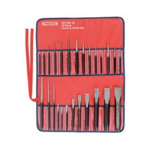Proto® J46 Punch and Chisel Set, 26 Pieces, 1/4 - 1-3/36 in Chisel, 3/32 - 5/8 in Punch, Hardened Steel