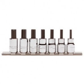 Proto® J4990-MST Hex Bit Socket Set, 7 Pieces, 3/8 in Square Drive, Forged Alloy Steel, Nickel Chrome Plated