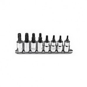 Proto® J5239C SAE Standard Length Socket Bit Set, 8 Pieces, 3/8 in Square Drive, Torx Tip, Forged Alloy Steel