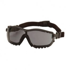 Pyramex® GB1820ST Protective Goggles, Universal, Framed Black Frame, Anti-Fog, Scratch-Resistant Gray Lens