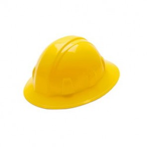 Pyramex® HP24130 Full Brim Hard Hat, 6-1/2 - 8 in, Yellow, 4-Point Ratchet Suspension, High Density Polyethylene