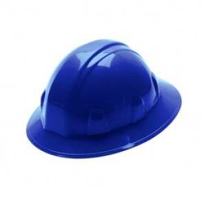 Pyramex® HP26160 Full Brim Hard Hat, 6-1/2 - 8 in, Blue, 6-Point Nylon Ratchet Suspension, High Density Polyethylene