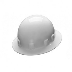 Pyramex® HPS24110 Sleek Shell Full Brim Hard Hat, White, 4-Point Ratchet Suspension, High Density Polypropylene