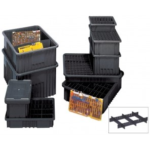 "CONDUCTIVE DIVIDABLE GRID CONTAINERS, Outside Dim. L x W x H: 10-7/8 x 8-1/4 x 3-1/2"", Inside Dim. L x W x H: 9-3/16 x 6-9/16 x 4-12"", Cu. Cap.: 0.1"