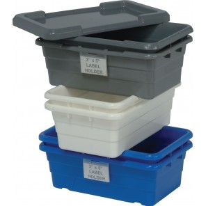 "QUANTUM CROSS STACK TUBS, Yellow, Lids, Size L x W x H: 25-1/8"" x 16"", Ctn. Qty.: 6"
