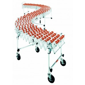 "ACCORDIAN EXPANDABLE CONVEYOR, Adj. Length: 10' - 40', Width: 14"", Cap. (lbs.) Per Ft.: 226, Leg Sets Per Unit: 11, Wheel Per Axle: 6, Wheel Type: Nylon"